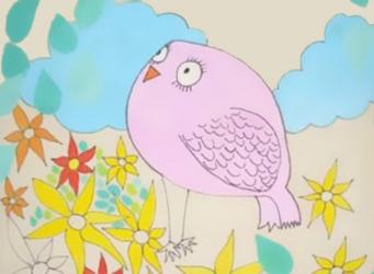 a pink owl looks wistfully skyward