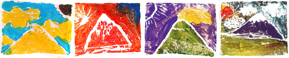 Hokusai-style prints made by IPE students under Jennifer's guidance in the spring of 2014