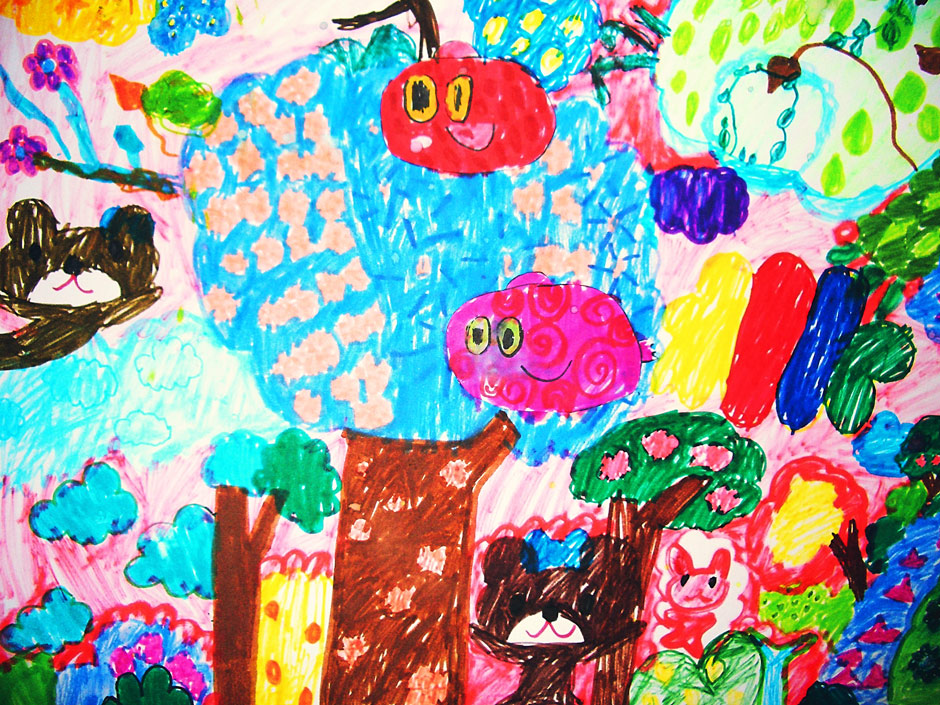 Artwork from the IPE Academy Kids Art Exhibition at the Plastic Factory in Nagoya