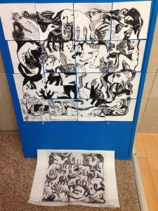 Here is some art  our older art kids made this year. M.C Escher Grid drawing
